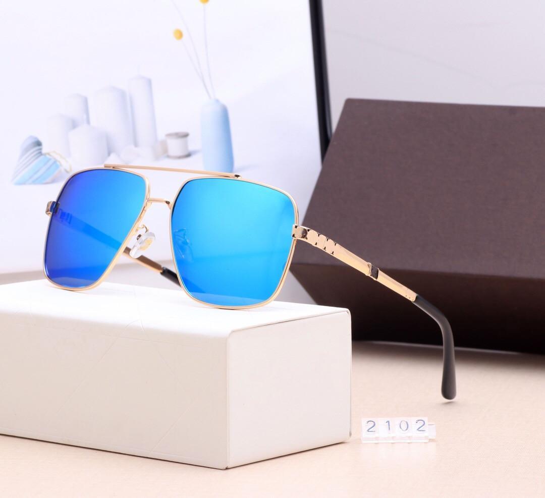 레저 운전 선글라스 브랜드 디자인 UV400 안경 금속 골드 프레임 태양 안경 남성 여성 미러 2102 선글라스 폴라로이드 유리 렌즈