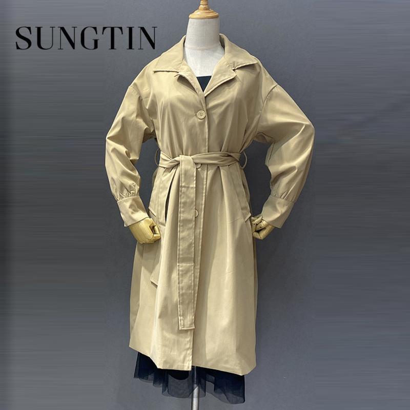 المرأة الخندق معاطف sungtin الكورية معطف طويل للنساء المعتاد 2021 ربيع الخريف الأزياء خمر حزام فضفاض سيدة قميص