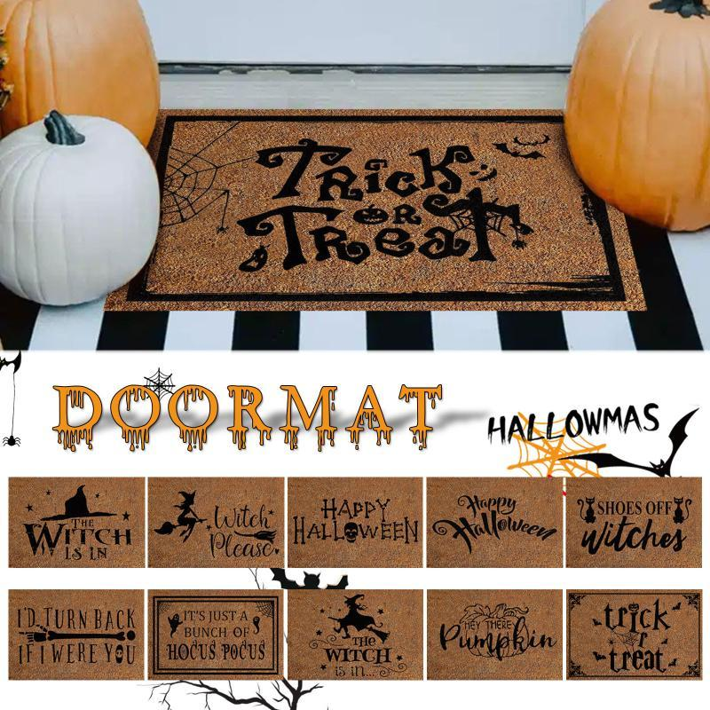 Tapetes Halloween Coir Bem-vindo Capacete de Entrada Tapetes Corredores Impresso Anti-Slip Assoalho Área Espaço Funny Front Porta