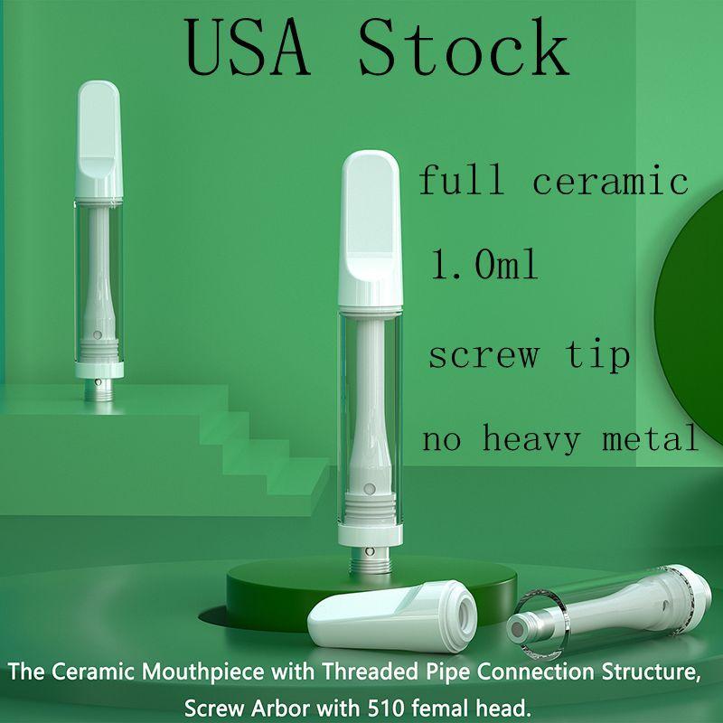 アメリカ在庫フルセラミックカートリッジ1.0ml重金属噴霧器ホワイトの空の使い捨て可能な気化器のペンネジの先端太い石油タンク2-5日配達品質約束