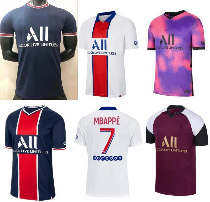 20 21 Thai Soccer Jersey Mbappe Verratti 2020 2021 Marquinhos Kimpembe di Maria Kean Football Jersey Soccer Tops الرجال قميص و مجموعات