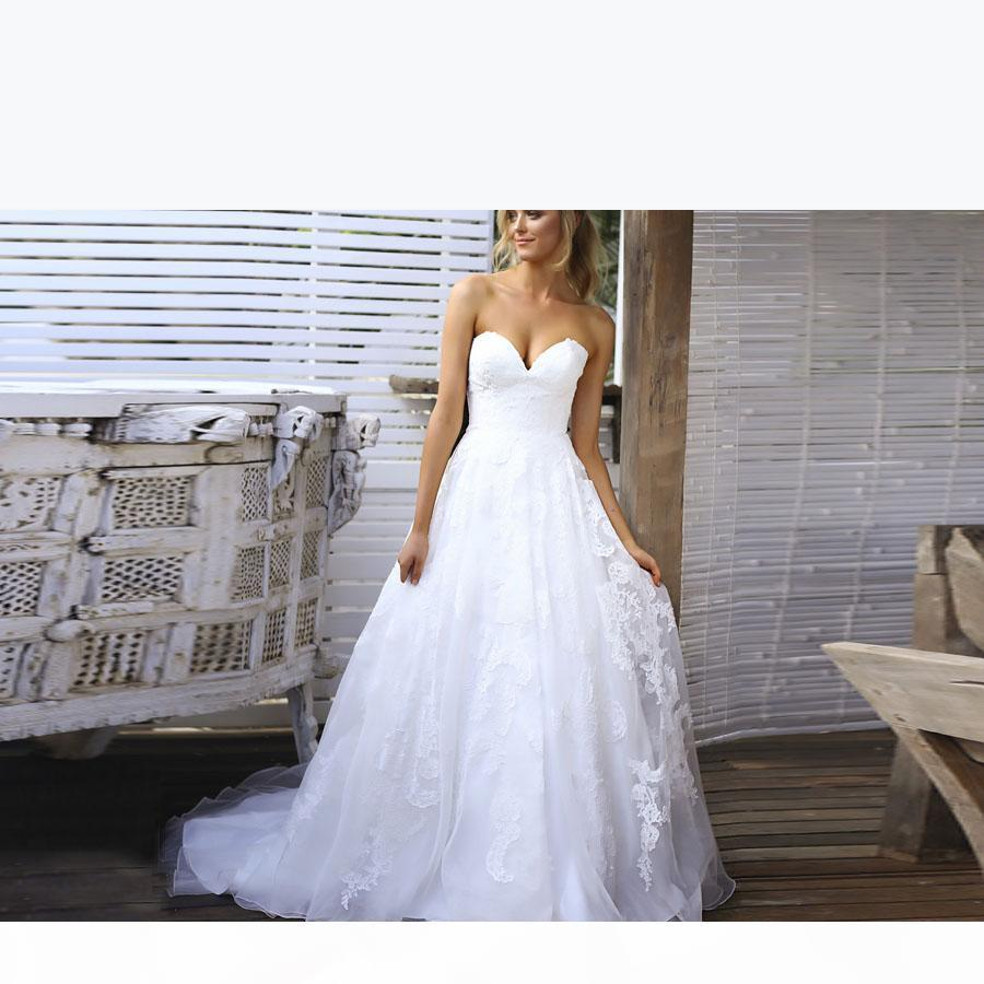 Дешевые белые простые свадебные платья A-Line Appliques Appleetheart Открытые задние платья для Bridal Long Vestios de Novia Sexy