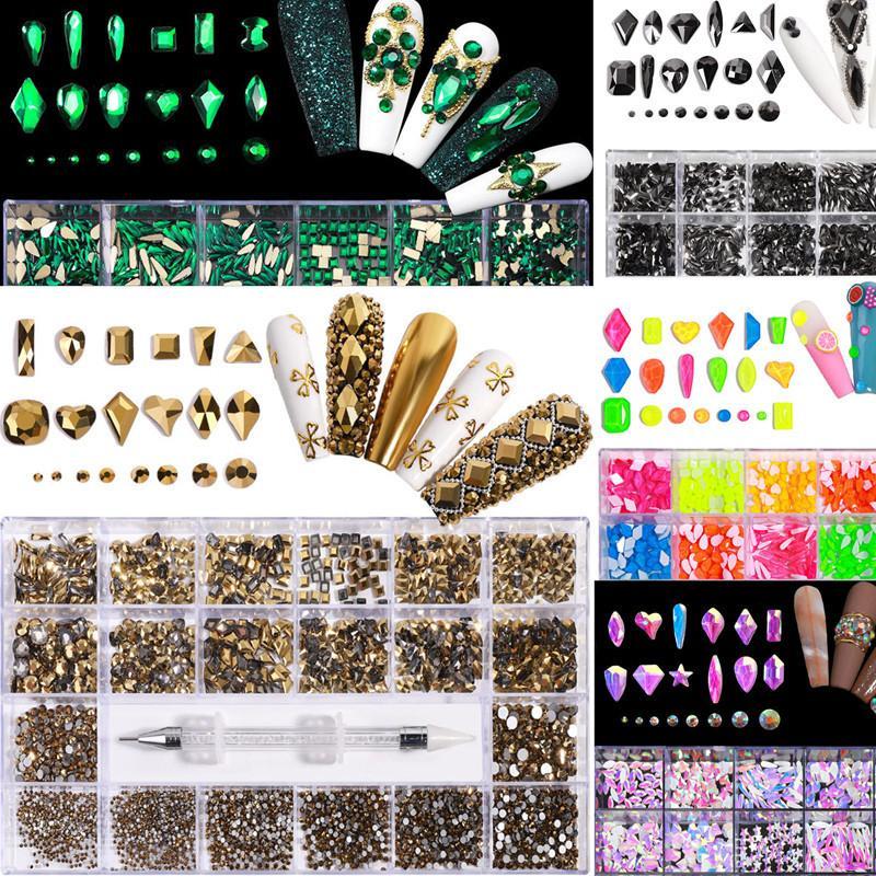 21グリッドボックスセットネイルアートグリッターラインストーンドットミックスシーズンカラーアクリルABレインボースパンコール携帯電話の化粧品の装飾のためのオパールパウダーフラットバック