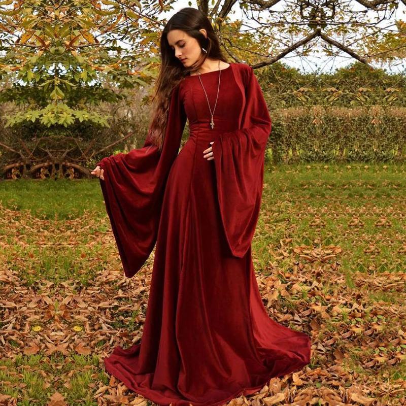 Arabic Style Bourgogne Pal Robes Design Unique Big Long Manches Musulman A-Line Robes de soirée Robe de Soisere