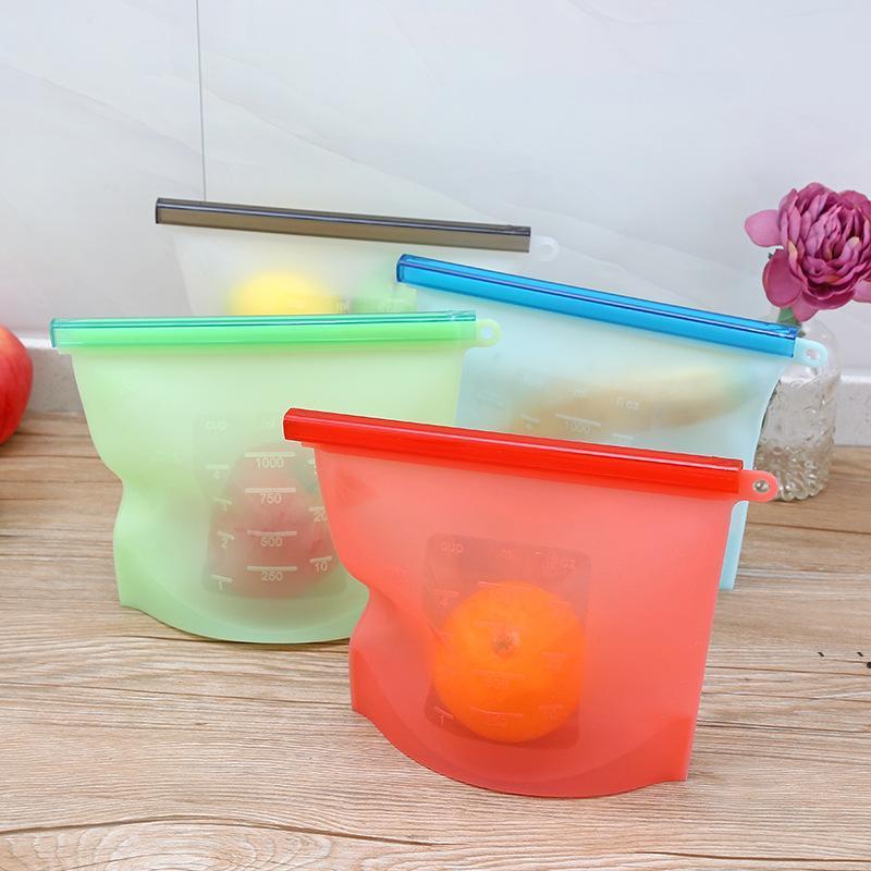 1000ml reutilizável saco de armazenamento de silicone vácuo selado alimentos preservação saco selado colapsible portátil de armazenamento de geladeira OWB6170