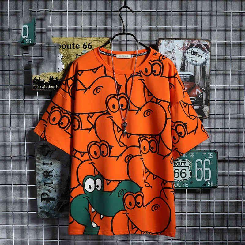 Kısa kollu komik karikatür karikatürler yaz aylık timsah tişört gevşek japon gömlek kawaii amine tişörtleri streetwear