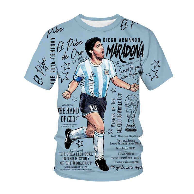 2021 3D casual manga corta o cuello moda Diego-Armando Maradona impresa camiseta para hombre