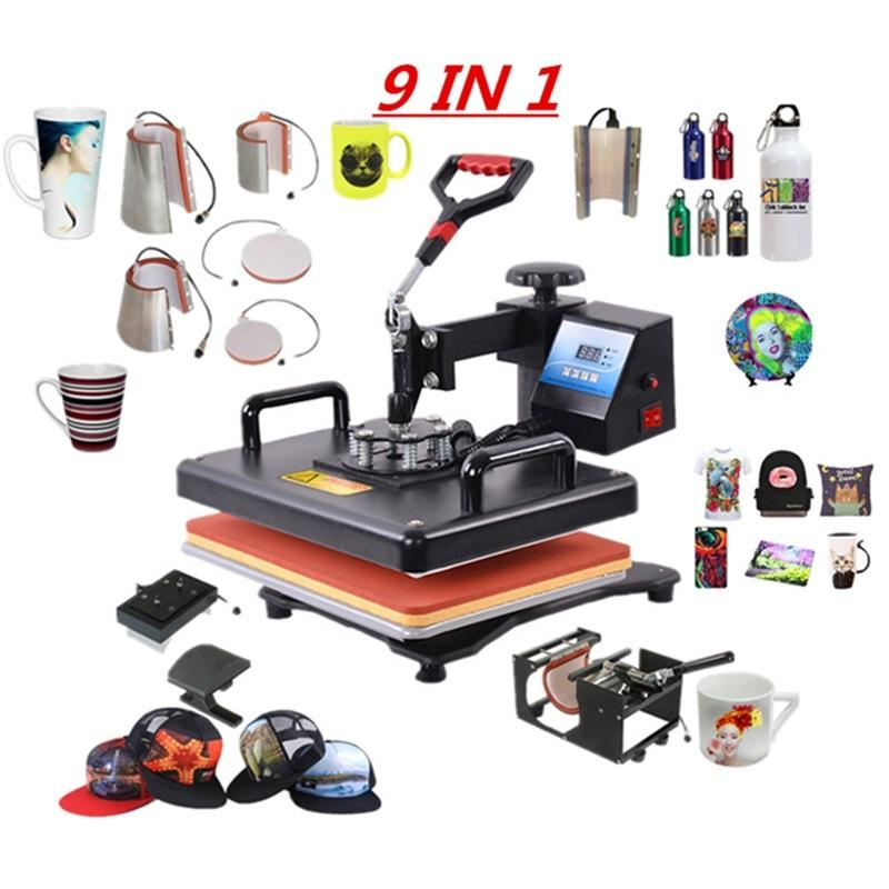 Multifunctional 9 in 1 Combo Machine Sublimation Press Heat Transfer Printer For Mug/Cap/T shirt/Phone Cases 3RT6