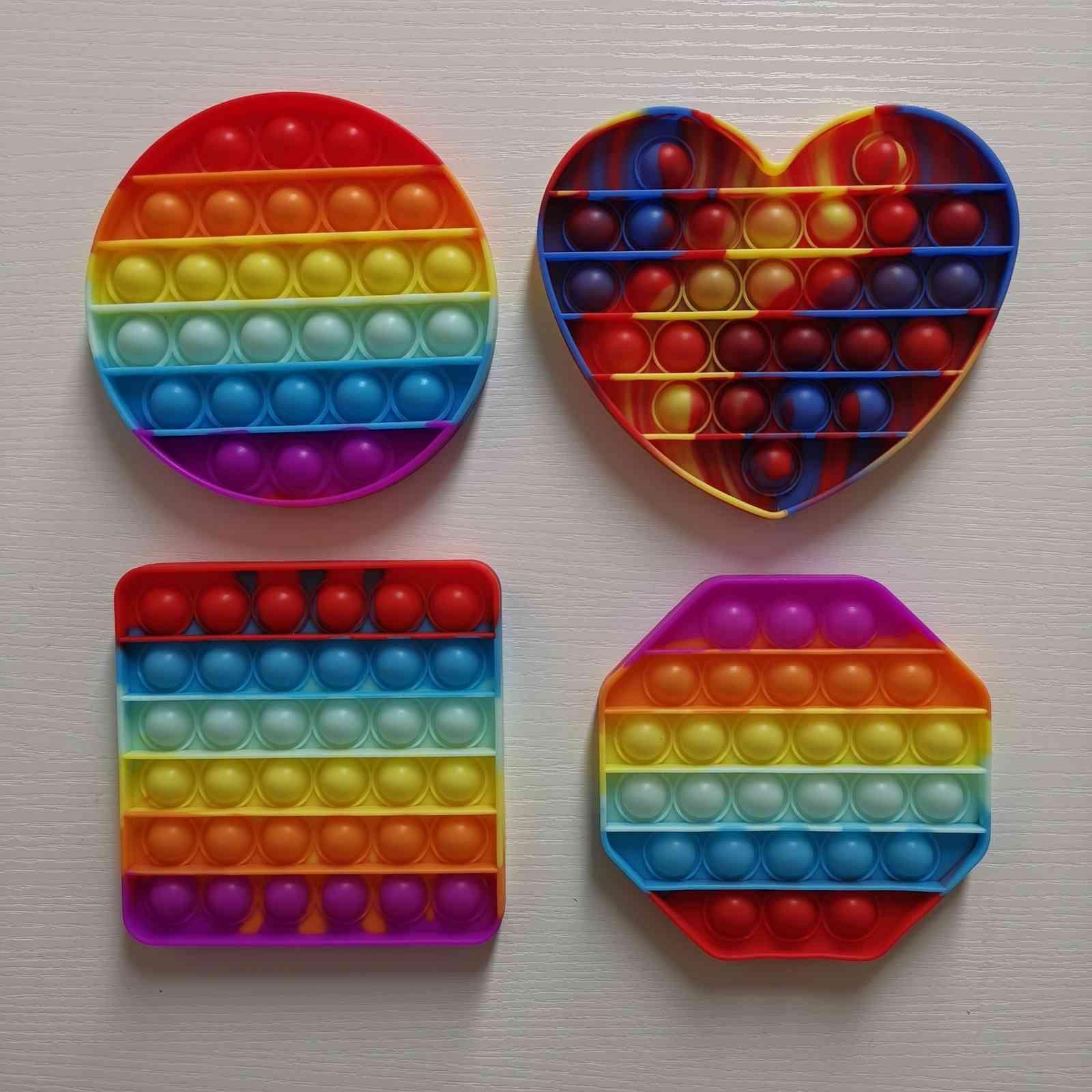 Sensory Fidget Bubble Toy Push Finger Fun Game Squeeze Balls Puzzle Rainbow Camo Stress Relief ADHD Heart Circle Square Shape G31604