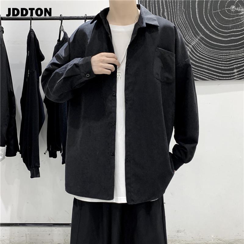 남성용 긴 소매 셔츠 캐주얼 패션 브랜드 느슨한 솔리드 컬러 남성 의류 Streetwear Tops 한국식 의류 JE610