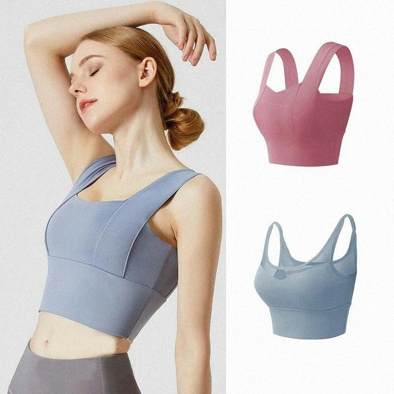 Lu Women 's Yoga Bra Shirts 스포츠 T 셔츠 밀어 넣기 조끼 휘트니스 닝 체육관 T 셔츠 탱크 섹시한 속옷 카미 솔리드 21 색 G4nd #