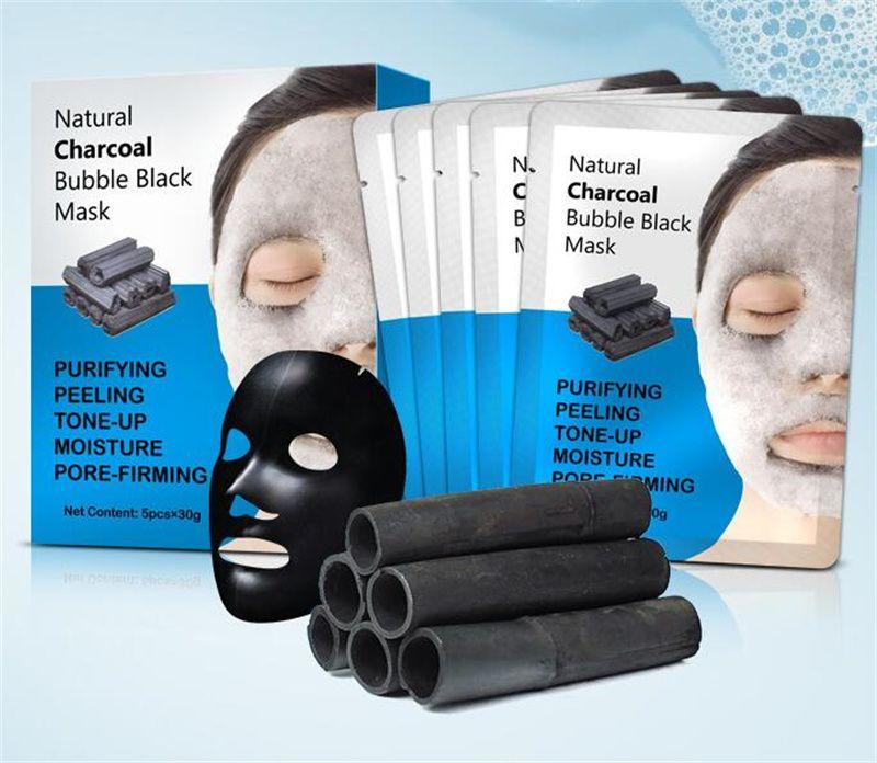 Bambus Holzkohle Pure Feuchtigkeitsspendende Blase Gesichtsmaske Tiefe Reinigung Öl Kontrolle Haut Verjüngung Schrumpfen Porenschaum Schwarze Masken