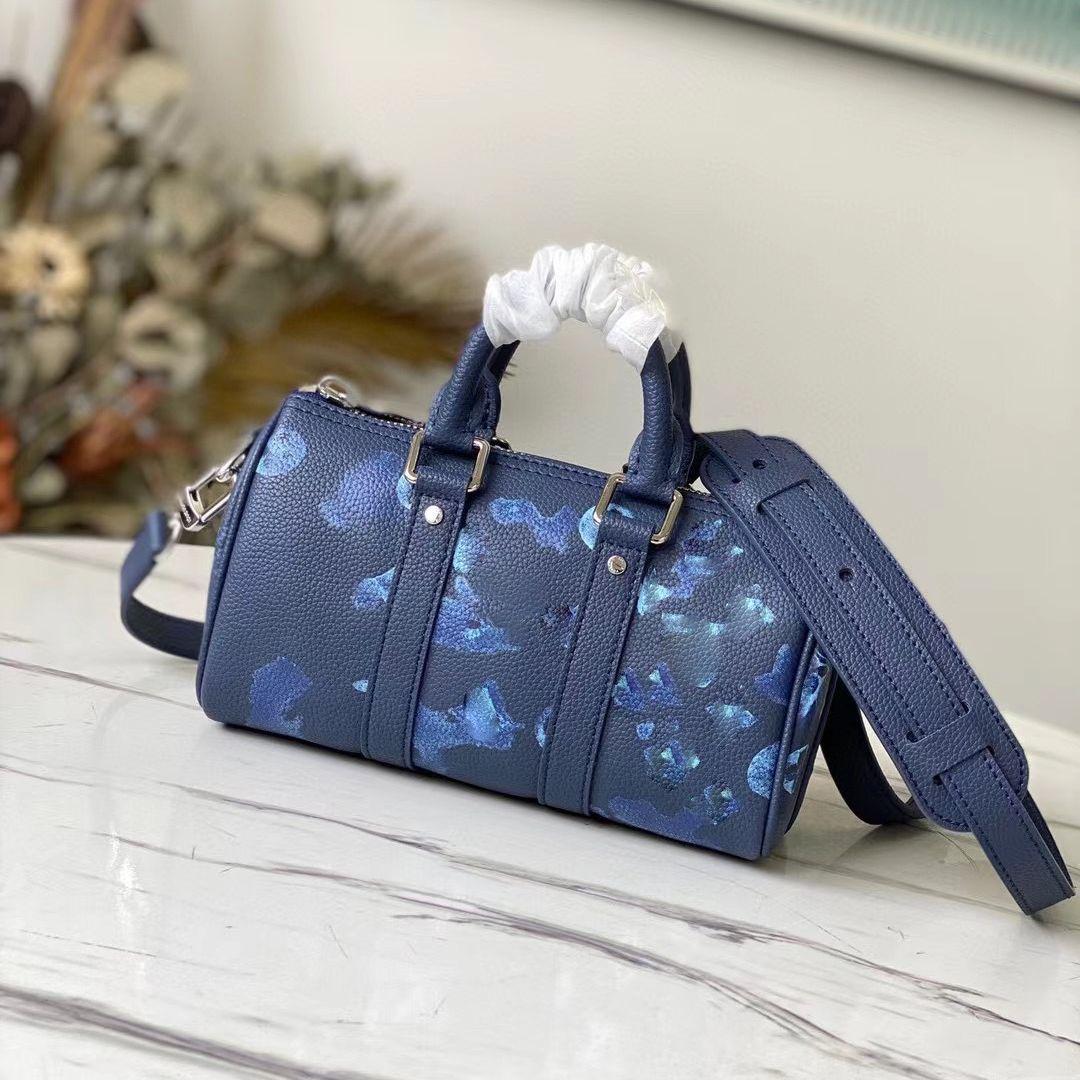 Homens Messenger Bag Alta Qualidade Azul Tinta Aguarela Trio Grain Couro Keepall Bolsas Retro Crossbody Travel Bags Mochila Moda
