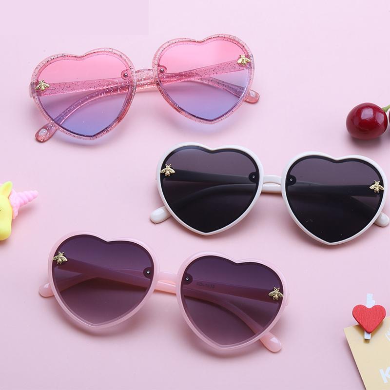 القلب الاطفال نظارات الأطفال الرجعية لطيف الكرتون النحل الوردي نظارات الشمس الإطار الفتيات الفتيان الطفل النظارات الأزياء الاتجاهات 2021