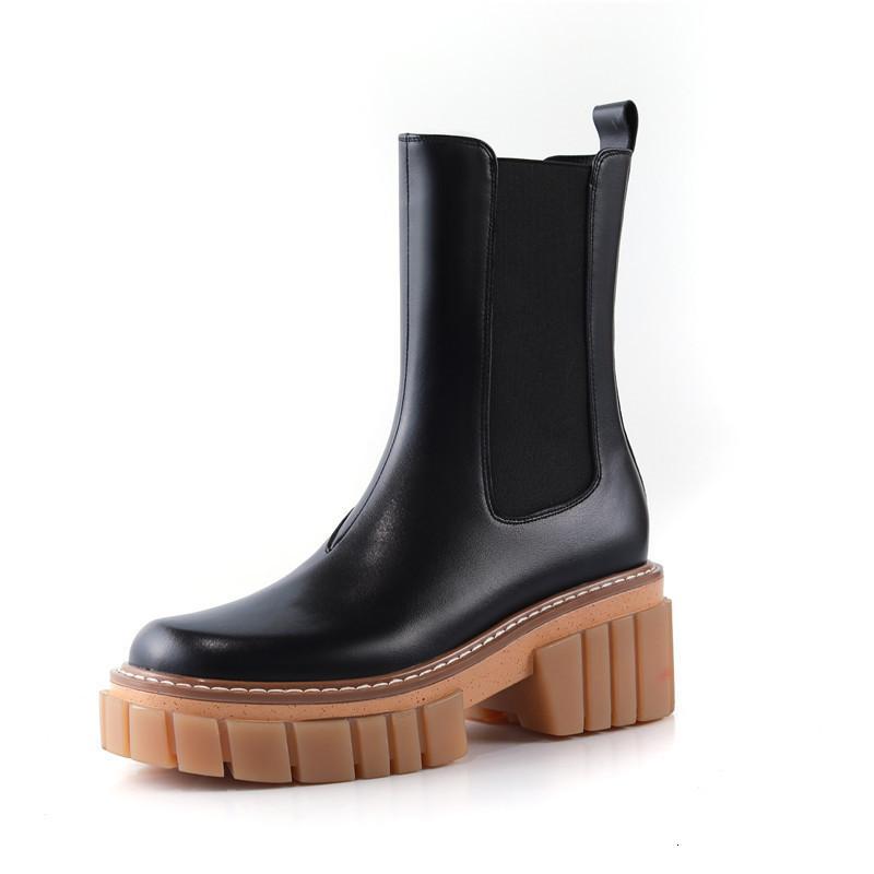 Asumer Deri Gelmesi Kadın Kare Ayakkabı Moda Bayan Botları