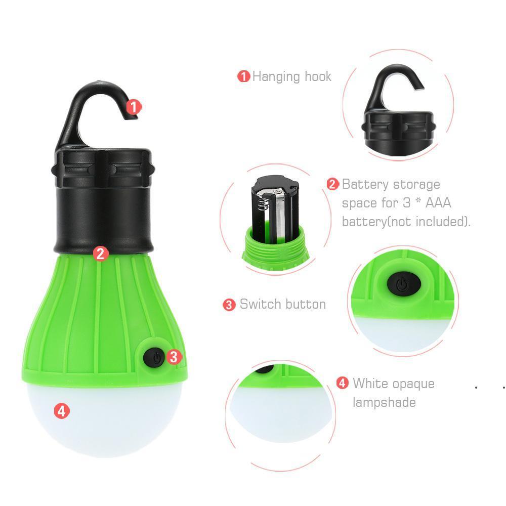 5 colori Tenda da esterno impermeabile Campeggio sferico aderente a 3eled portatile gancio luce mini emergenza campeggio segnale luce RRF8352