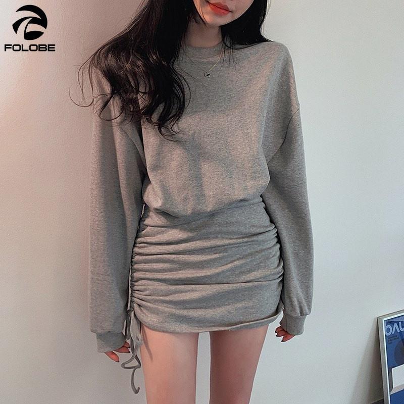 Automne Grey Minidresses Femmes manches longues à manches longues Traitement plissée A-Line Slim Col O-Colon Sexy Robe Femme Mini Robes occasionnelles