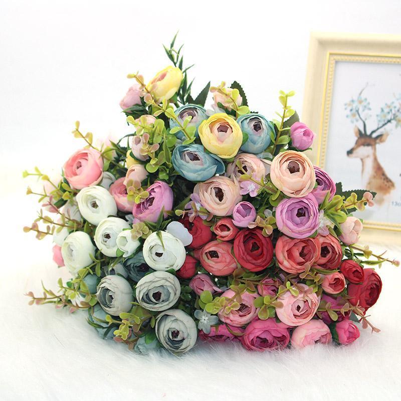 Dekorative Blumen Kränze DIY Schöne Seidekünstliche Kamelien Rosen | Kleiner Brautstrauß, gefälschte Blumen, benutzt für Weihnachtsfeier de