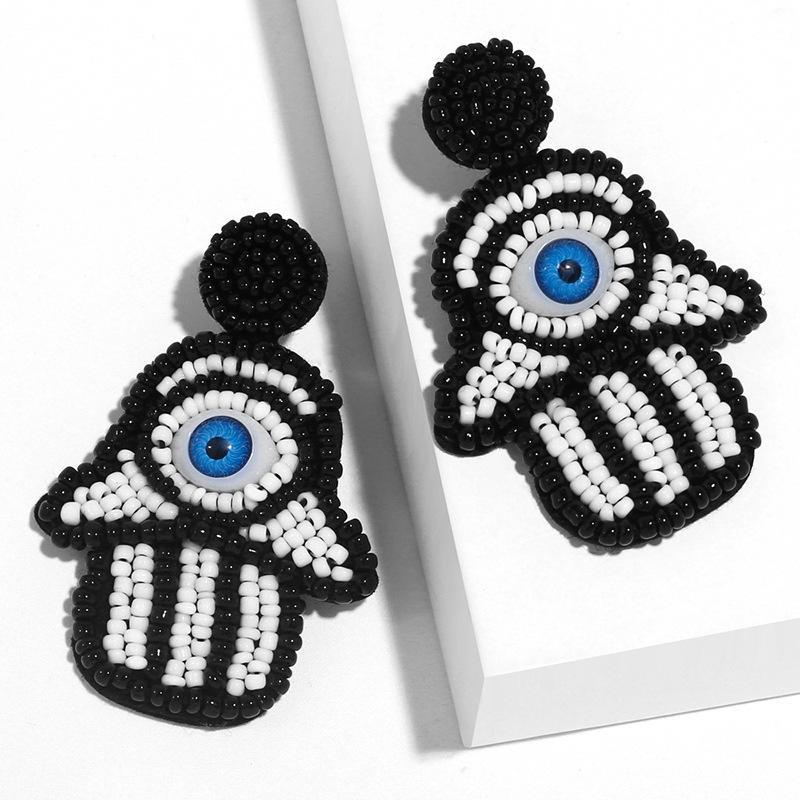 디자이너 크리 에이 티브 바람 팜 쌀 비드 귀걸이 여성 ERQ91.