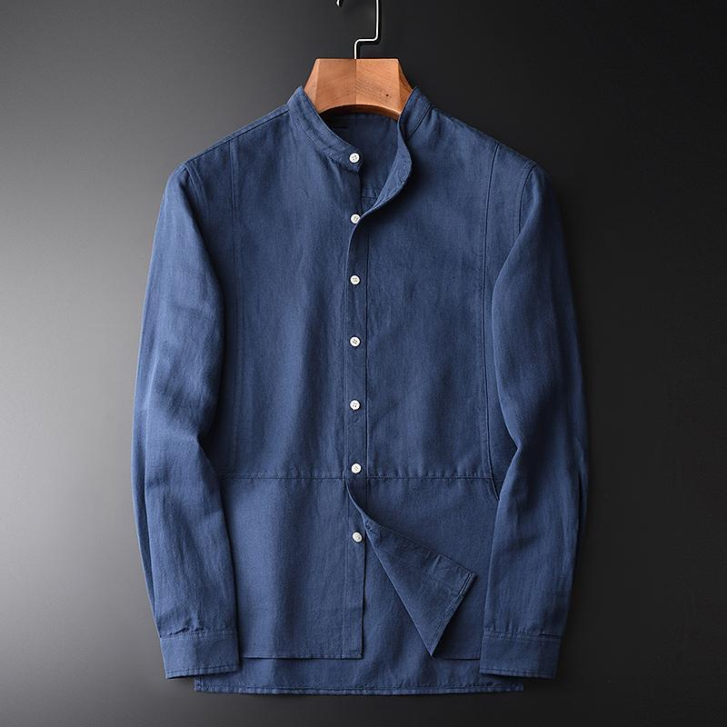 클래식 편안한 피부 친화적 인 면화 린넨 긴 소매 남성 셔츠 도착 블루 스탠드 칼라 슬림 캐주얼 남성용 셔츠
