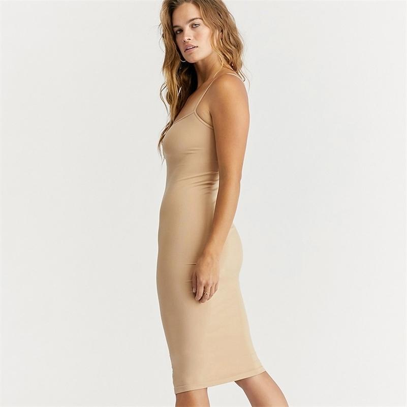 Sem costura nude deslizamento vestido verão outono mulheres pulseira ajustável vestidos stretchy bodycon slim midi vestido underdress 210402