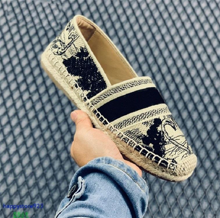 Y123C Последние женские кроссовки кроссовки обувь тапочка конопляный веревка ткачество дизайн высокого качества мода повседневная прокаув цветочная вышивка скольжения на лошеный дышащий