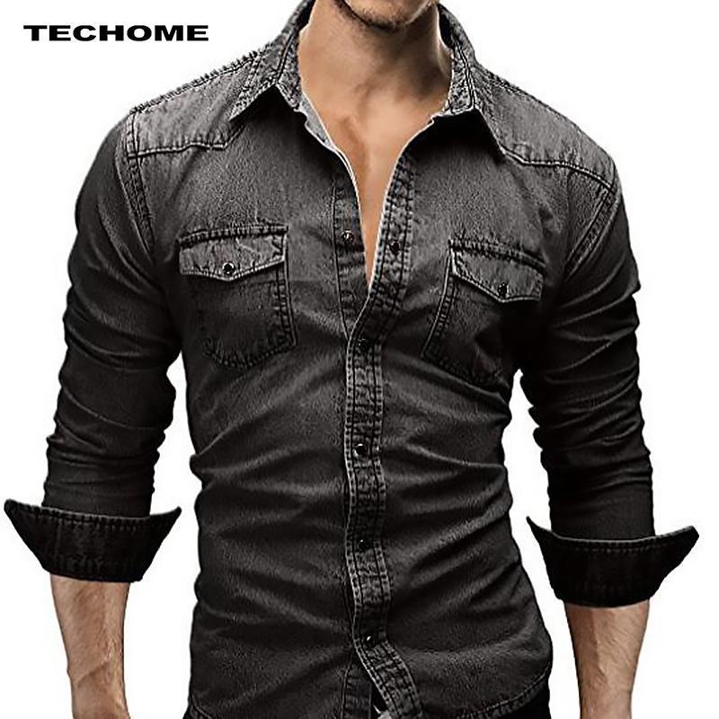 남자 데이신 셔츠 좋은 봄 가을 조수 스타일 패션 슬림 꽉 캐주얼 긴팔 카우보이 셔츠 단일 행 단추 남자