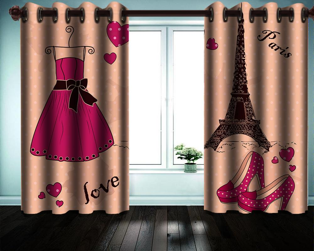 Beautiful Tower Dress 3d Curtains HD Digital Print Living Room Bedroom Kitchen Home Decor Practical Fine Curtain