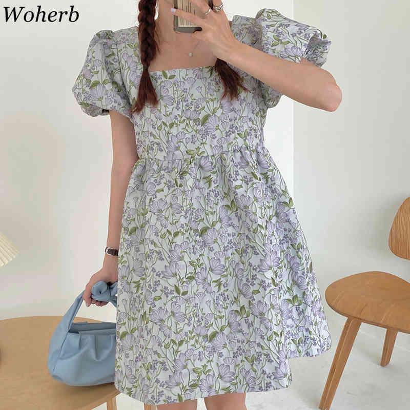 Tatlı Çiçek Nakış Elbise Kadınlar Kare Yaka Puf Kollu Elbiseler Kore Vintage Yaz Vestidos Kızlar Kawaii Robe 210422