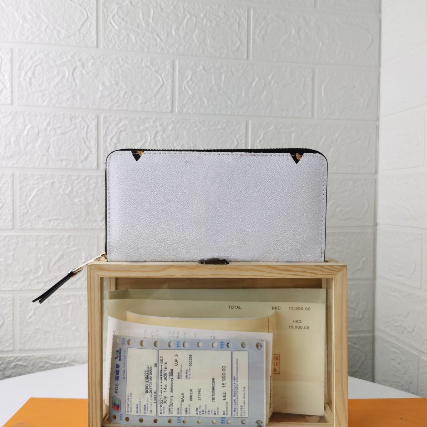 Qualität Luxurys Geldbörse für Männer Frauen Geldbörse Gedruckt Blume Leder Datum Code Brieftaschen Für Männer Mode Designer Kleine Geldbörsen Kartenhalter Reißverschluss Brieftasche mit Kiste 19x10