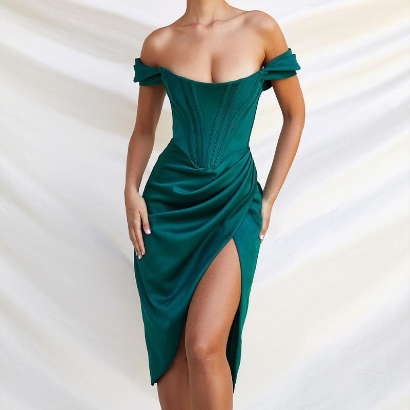 С плечами атласная корсет драпированное MIDI платье сплошное качество женщины элегантные наряды знаменитости рождения день рождения платья для беременных