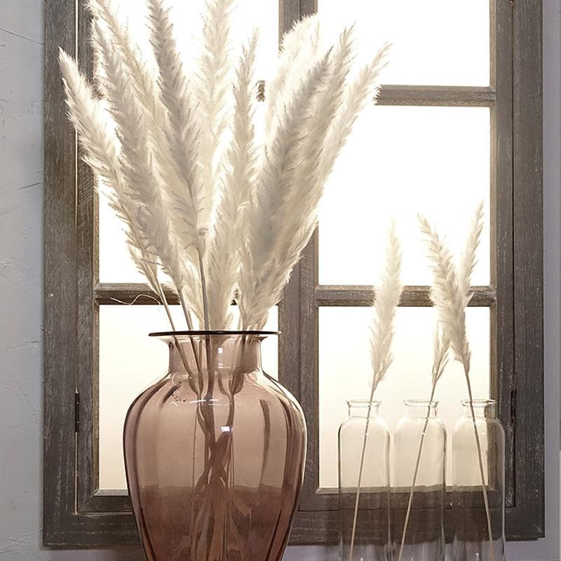 Decorative Flowers & Wreaths Bulrush Natural Dried Small Pampas Grass Phragmites Artificial Plants Wedding Flower Bunch For Home Decor Fake