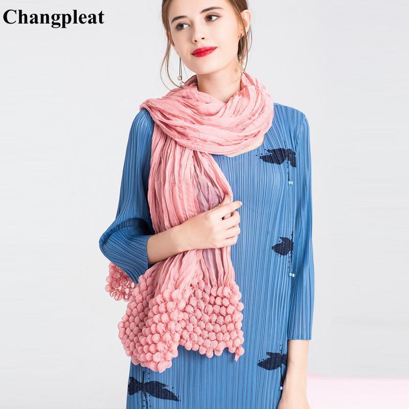 Changpleat 2021 elegantes mulheres cachecol xale miyak plissado moda sólida bolha dobra feminina lenços tide bandanas