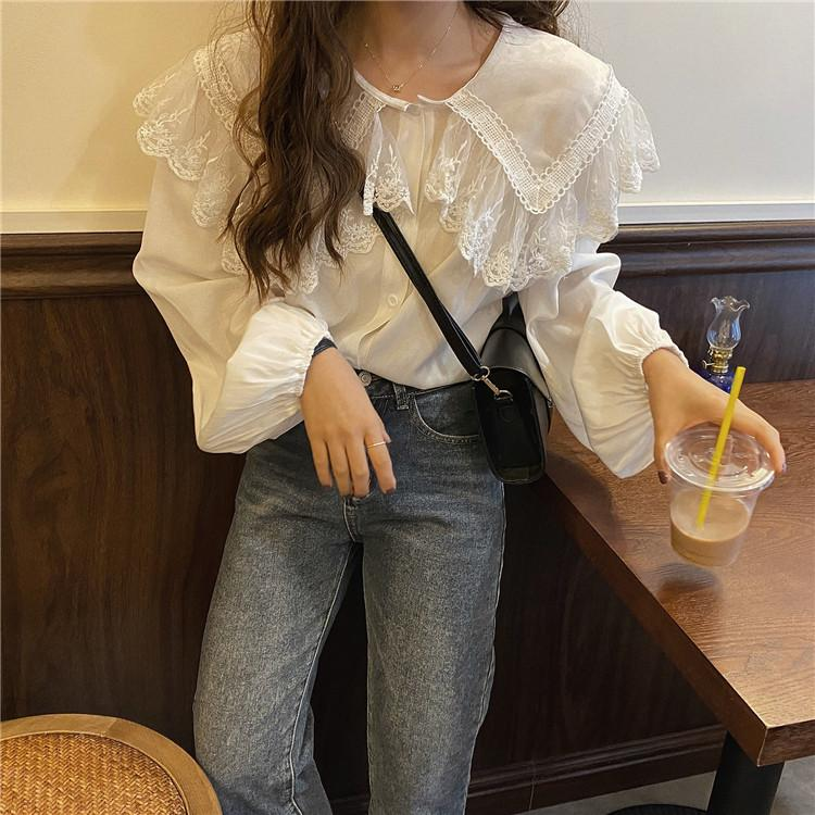 Spring and autumn Lapel shirt basic fashion with Lace Chiffon puff sleeve casual girl