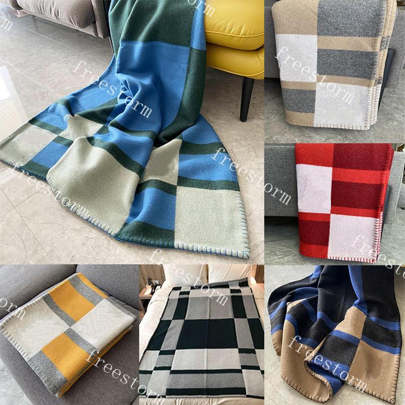 Yün Sıcak Battaniye 7 Renkler Yumuşak Dokunmatik Battaniye Klasik Kalınlaşmak Tasarımcı Erkekler Kadınlar Şallar Halı Atmak