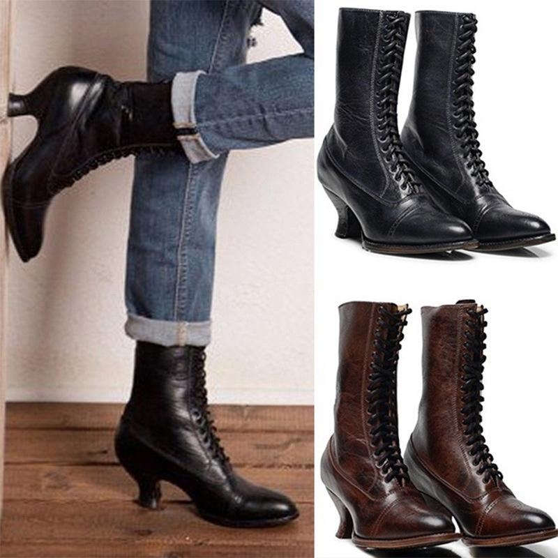 Boots 2021 Autumn And Winter Women's Wineglass Pointed Toe Large Size 40-43 PU Leather Cross Strap Ankle For Girl