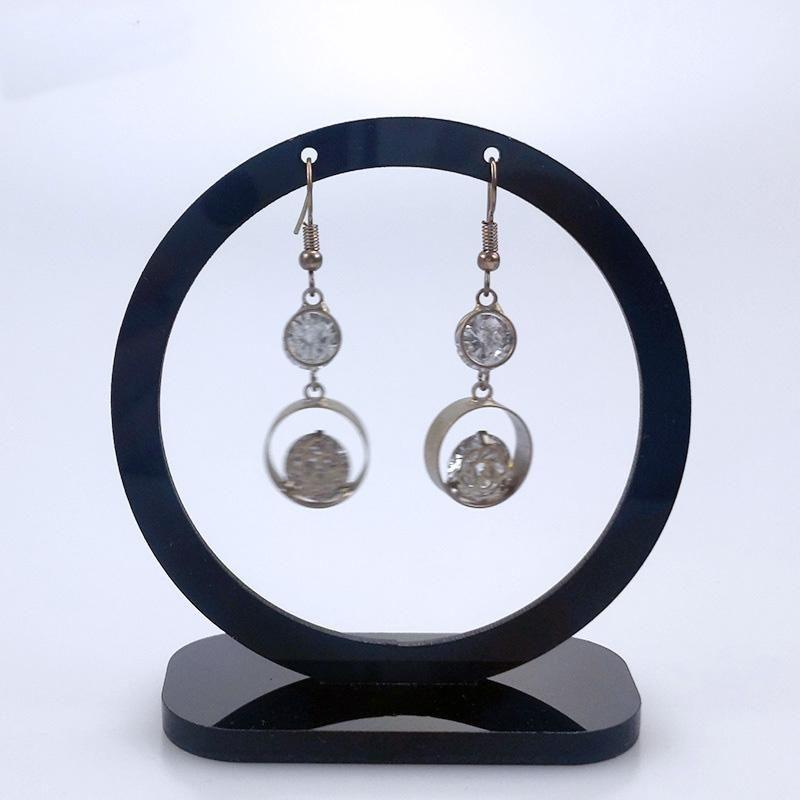 مجوهرات جولة الأسود والأبيض أكريليك حامض المكسور عرض 17 الحقائب الجواهر، الحقائب