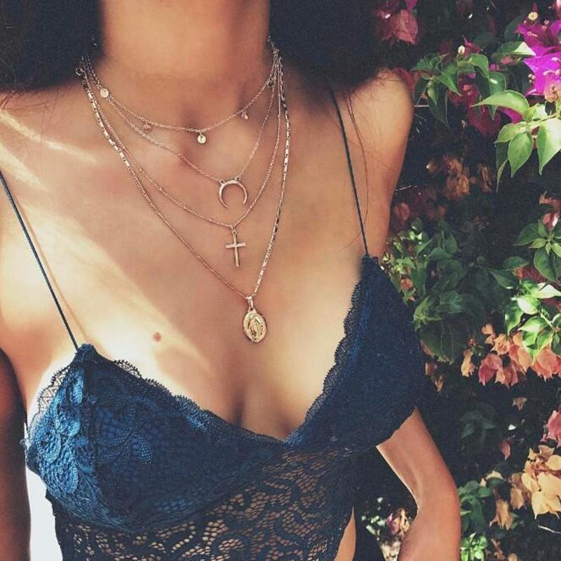 Meyfflin Boho Coukers Colliers Pendentifs Pour Femmes Vintage Gold Cross Maria Moon Collier Mode MultiLayer chaîne bijoux2021 Chaokers