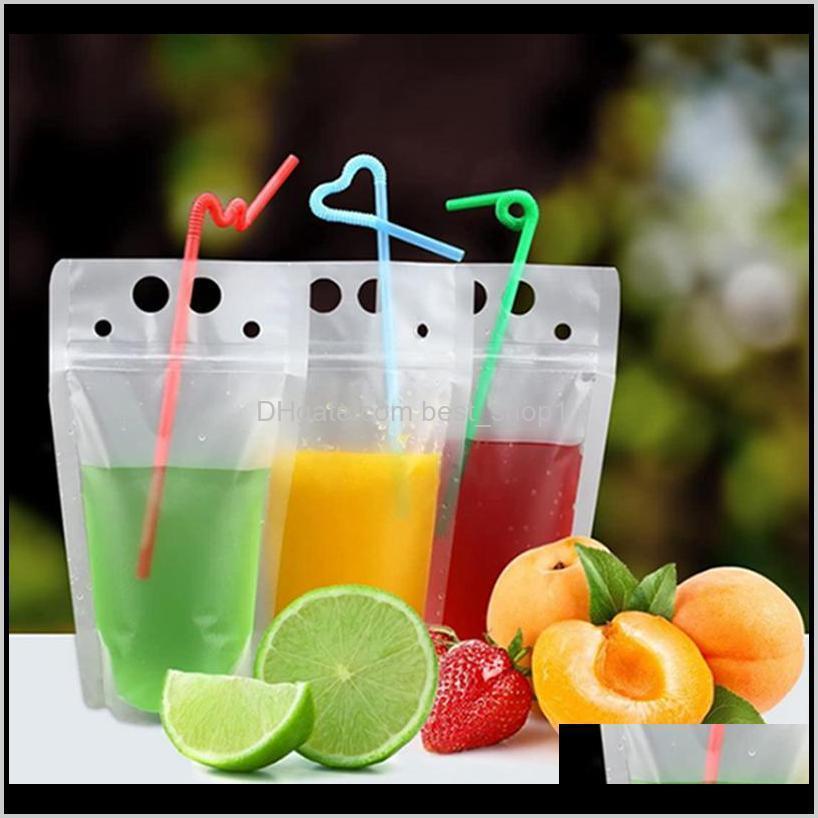 زجاجات المياه واضحة ماتي حقيبة مع القديس الثقيلة المحمولة شفافة شفاف سستوتة البلاستيك الحقائب شرب أكياس IIA393 IHAGS LFO0W