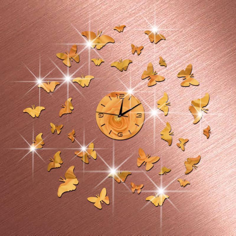 Relógios de parede Moda 3D Tamanho grande relógio Espelho Etiqueta DIY Decoração de Casa Quarto de Reunião