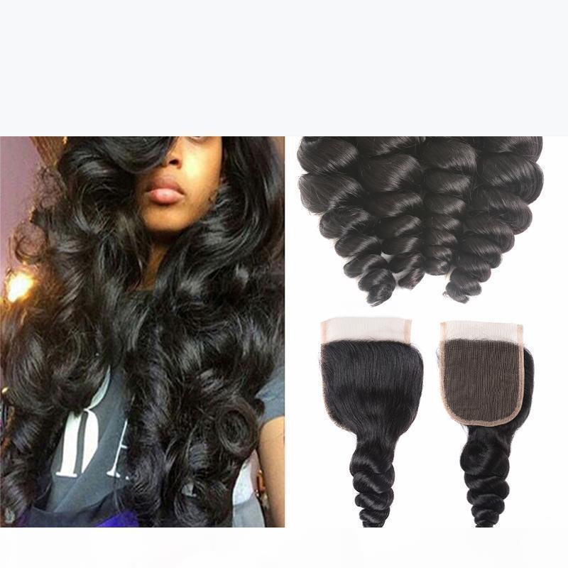 Сочетания волос девственницы с закрытием 5 шт. Лот 100 г ПКS 8A Необработанные человеческие волосы Weaves Индийская свободная волна Девственные волосы Ввиды натуральный черный