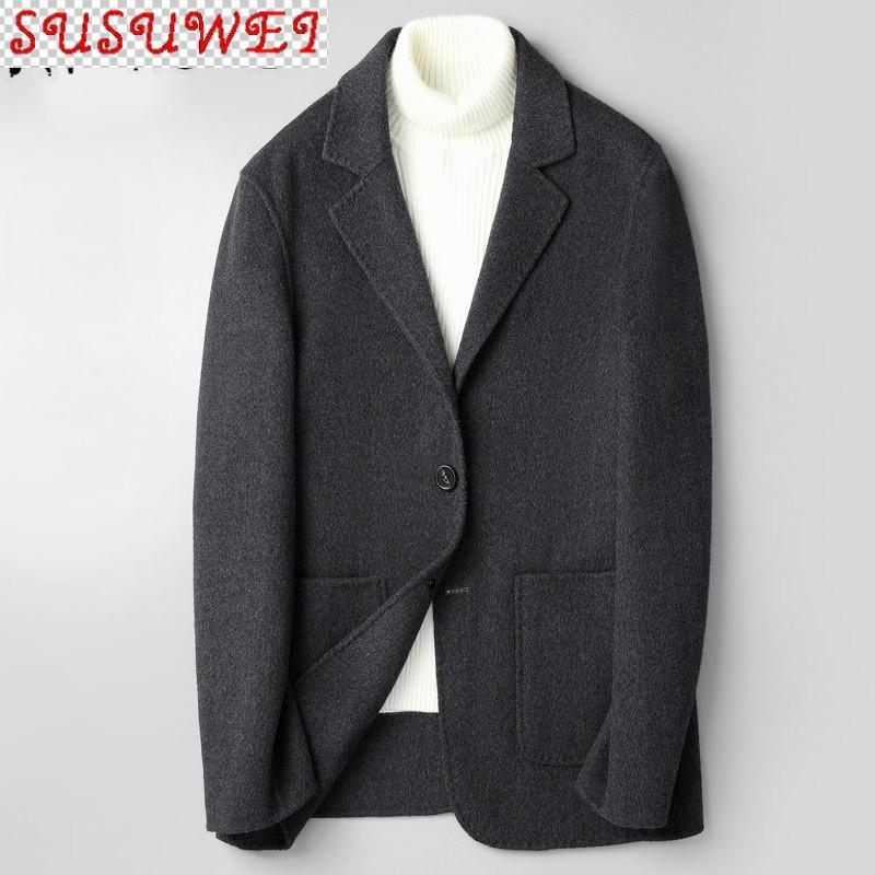 Männer 100% Wollmantel doppelseitige koreanische Mannjacke Frühling Herbst Manteljacken Casaco Masculino JM-Zjz818 KJ4294 Mischungen