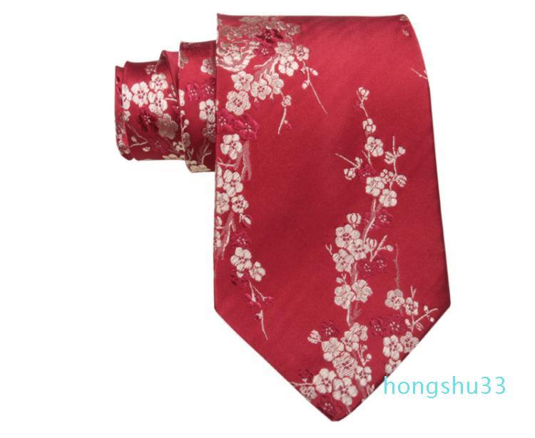 Последние вишневые цветки Жаккардовые галстуки Высокий конец натуральный шелковистый шелк из натуральной шелковой брокадные мужчины Стандартные модные галстуки деловые подарки