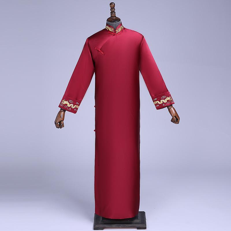 Casual Dresses Red Groomsman Chinese Wedding Cheongsam Traditional Style groom man Evening Dress Long Gown Qipao Mens Size S - XXL WPRI