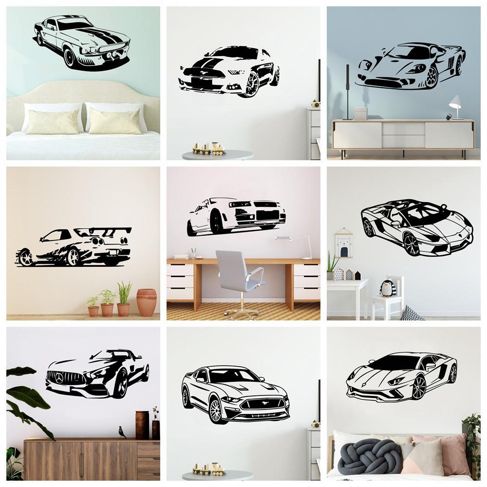 Autocolantes modernos esporte carro vinil papel de parede para sala de estar decoração adesivo de parede quarto decoração home decalques mural