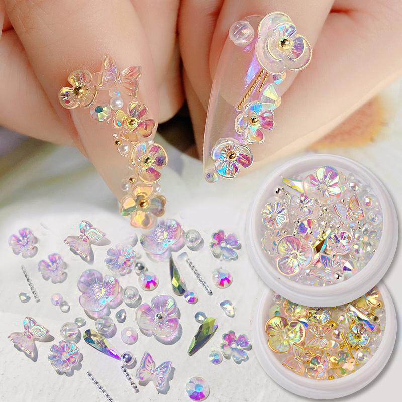 Nail Art Decorations Colorful AB Crystal Flower Butterfly Mix Metal Rivets Pearls Holographic DIY Nails Rhinestones Accessories