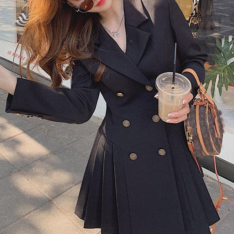 Casual Dresses Blazer Dress Women Elegant Black Party Female Spring 2021 Oversize Long Sleeve Double Breasted Office Korean Clothes
