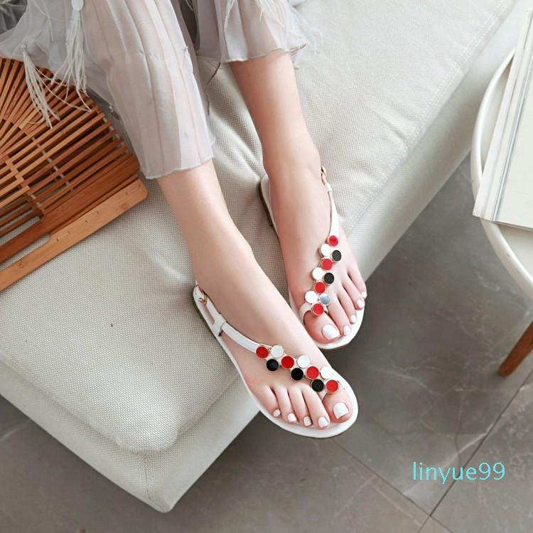 Big Taille 9 10 11 12 13 14 Sandales High Talons Sandales Femmes Chaussures Femme Sandals de Toe Plat Dames