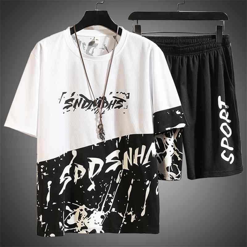 Set Harajaku Chemise Harajaku Chemise Lettre d'impression Travos Suivre 2 pièces Ensemble Vêtements d'été pour Hommes Hip Hop Tenue Mâle Ensembles 210330