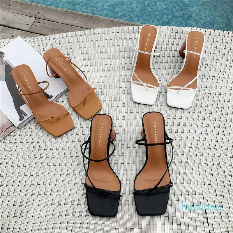 2020 여름 여성 8cm 하이힐 샌들 클래식 블록 발 뒤꿈치 플랫폼 펌프 레이디 chunky fertsh 갈색 웨딩 핀 샌들 신발